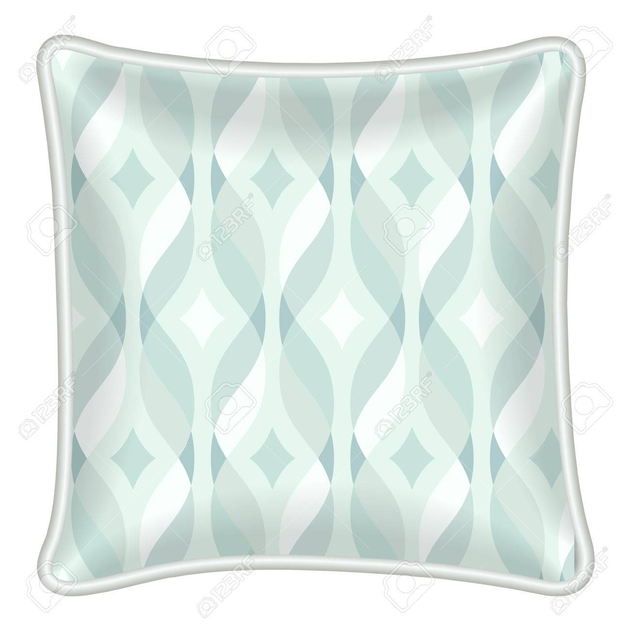 Interior Design Element Decorative Pillow With Patterned Pillowcase Tangled Teal Ribbon And Diamonds Pattern Stock Vector