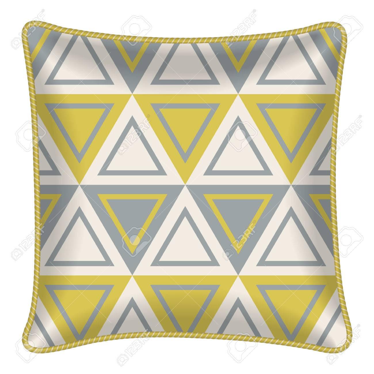 Interior Design Element Decorative Pillow Patterned Pillowcase Mustard Grey Triangles Pattern