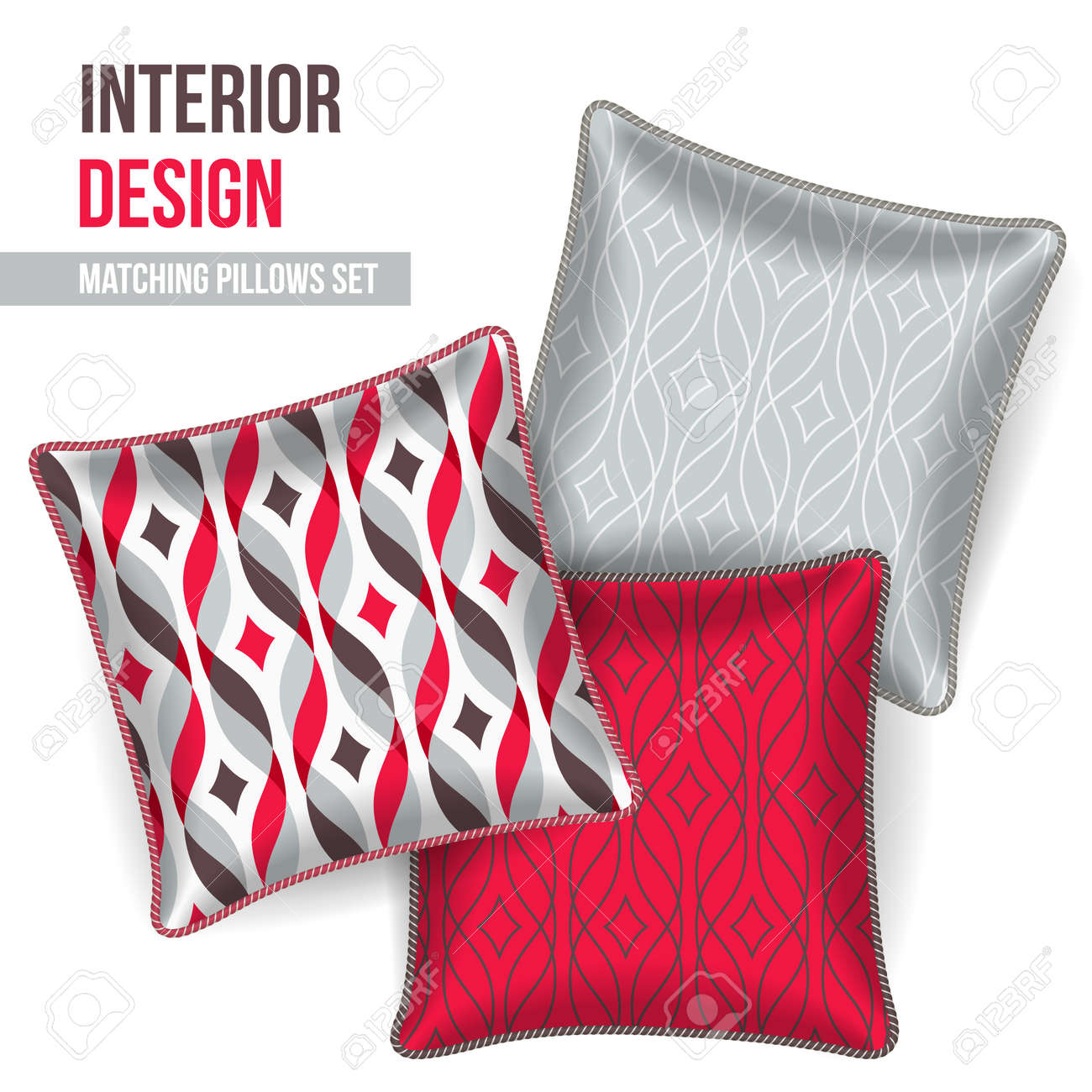Decorative Pillow Set Set Of 3 Matching Decorative Pillows For Interior Design Red