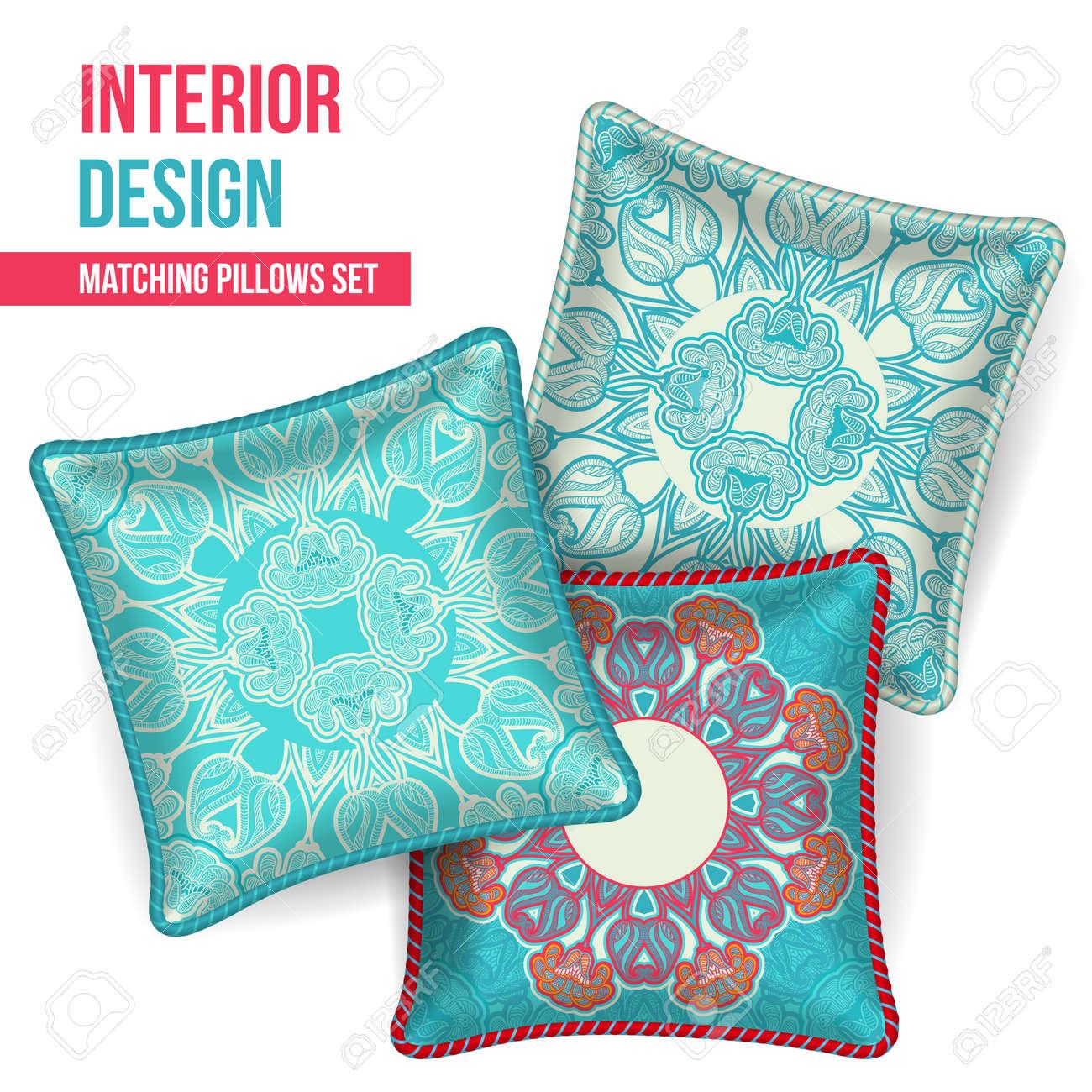 Conjunto De 3 A Juego Cojines Decorativos Para El Diseño Interior