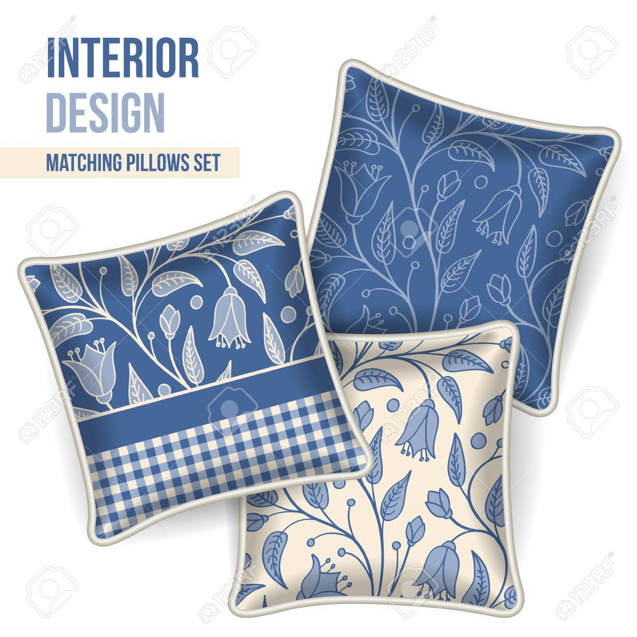 set of 3 matching decorative pillows for interior design dark blue floral pattern vector stock