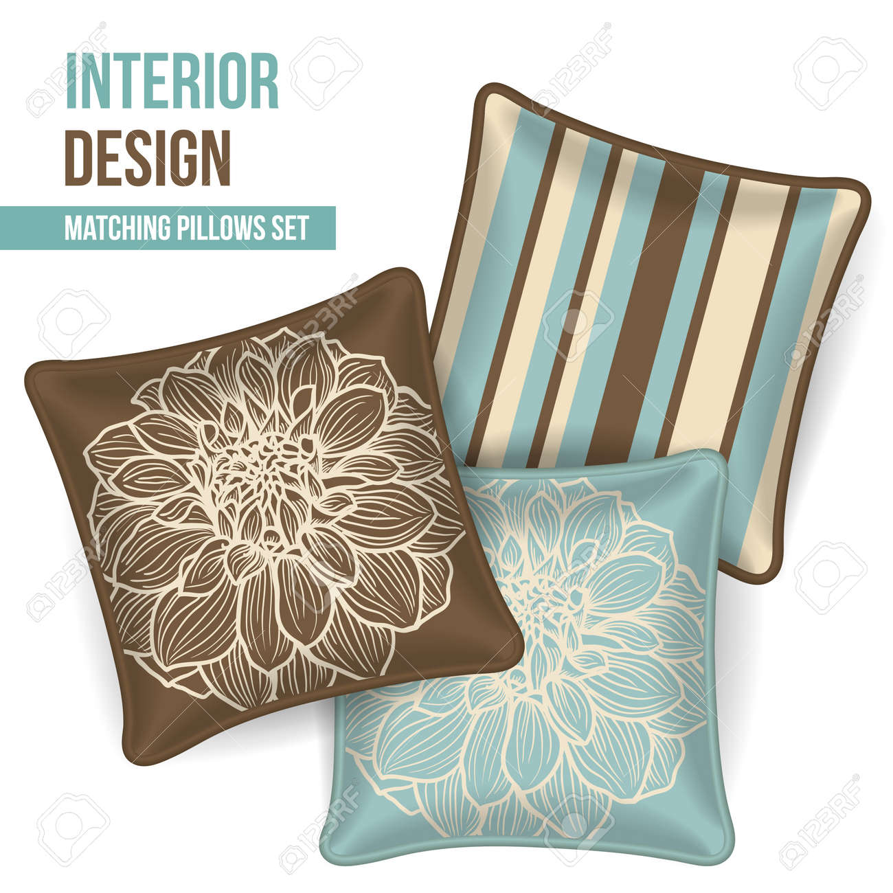 Decorative Pillow Set Set Of 3 Matching Decorative Pillows For Interior Design Brown