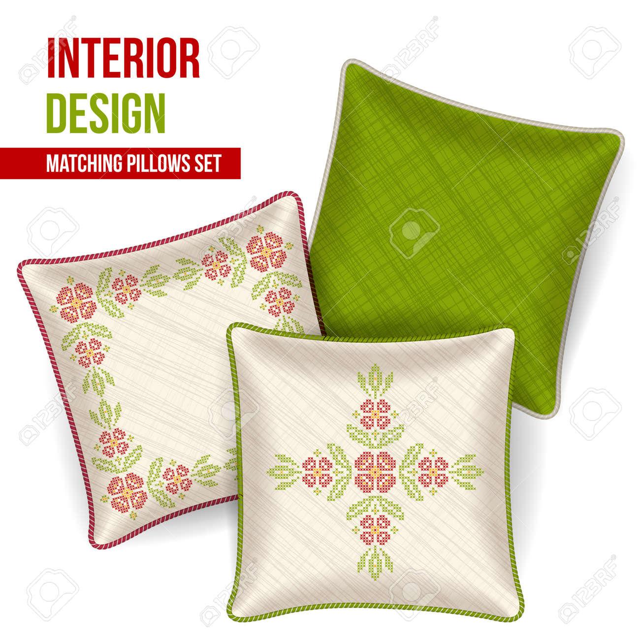 Set De 3 A Juego Cojines Decorativos Para El Diseño Interior ...