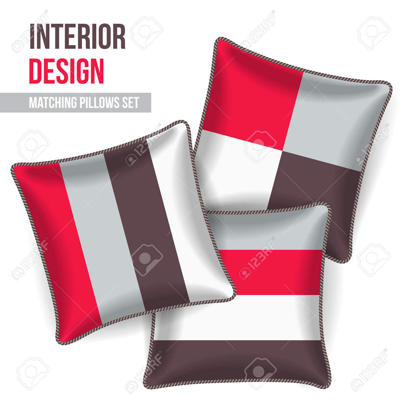set of 3 matching decorative pillows for interior design pattern stock