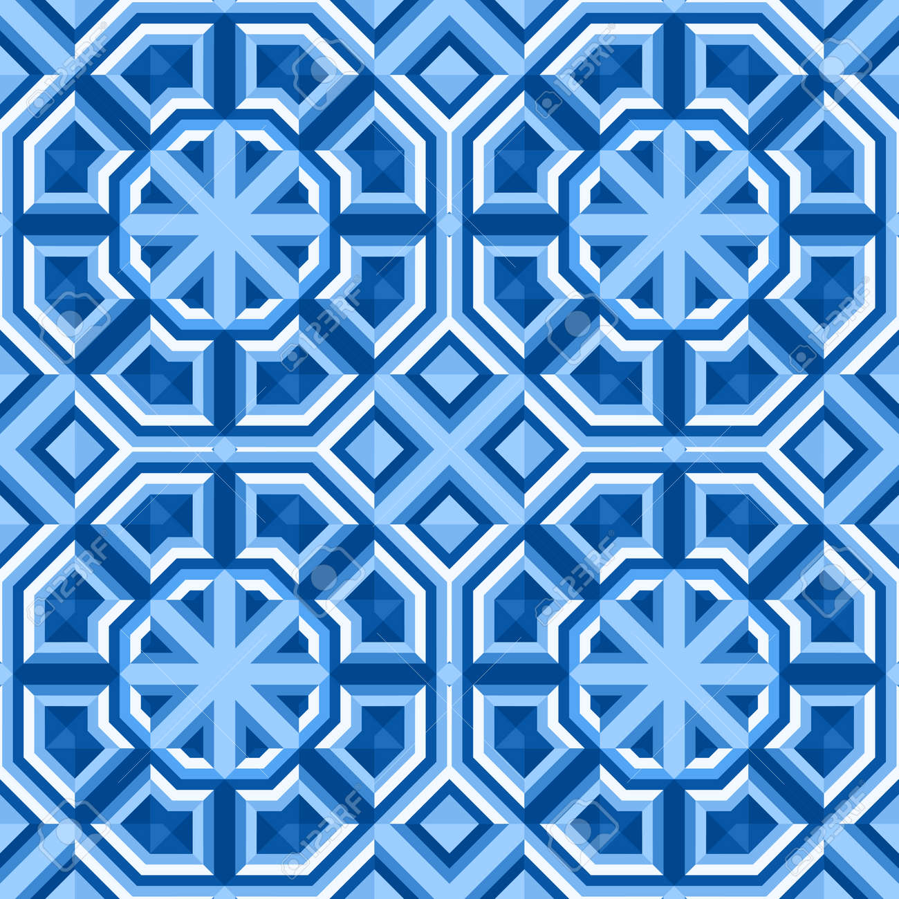 Floor Tiles With Abstract Geometric Pattern. Seamless Vector ...