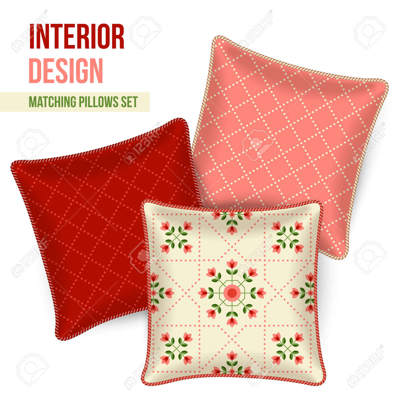 Decorative Pillow Set Set Of Three Matching Decorative Pillows For Interior Design
