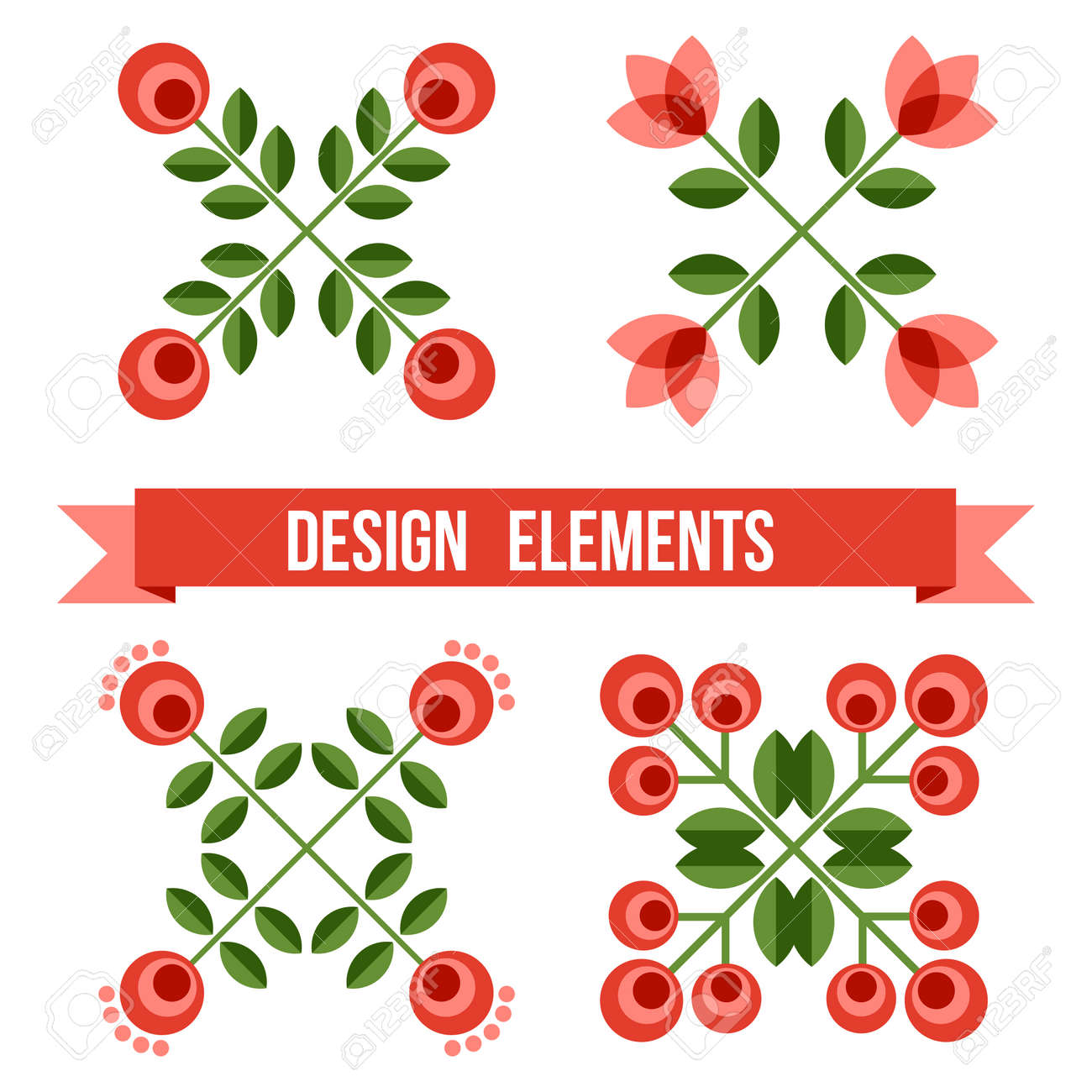 Set Of Design Elements - Flowers And Floral Ornamented Borders ...