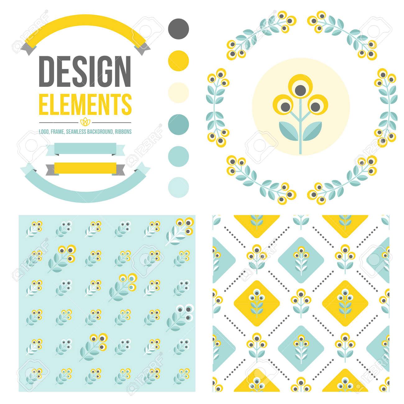 Conjunto De Elementos De Diseño - Marco Redondo Floral, Patrones De ...