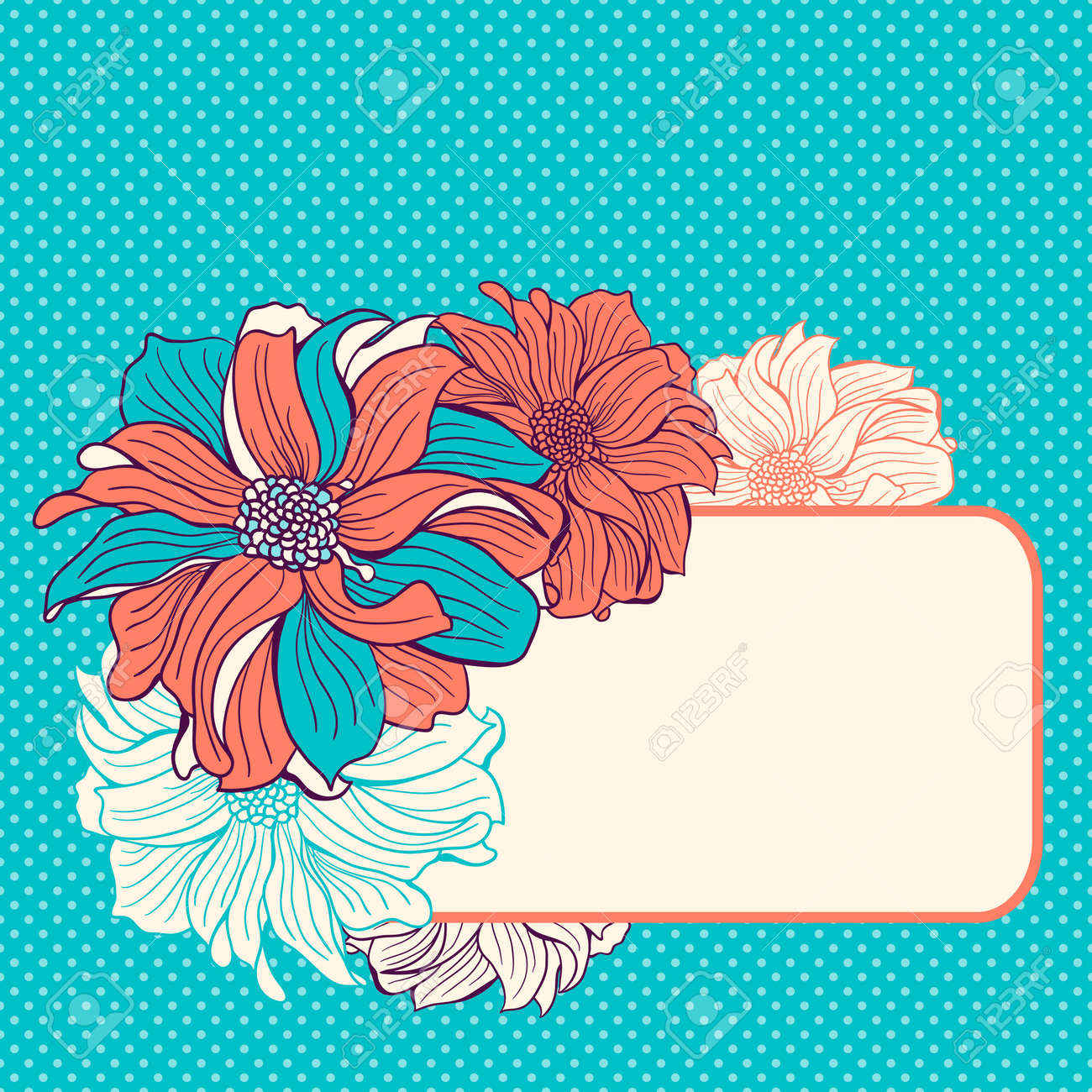 Greeting Card With Hand Drawn Dahlia Flowers Mint Turquoise Aqua And