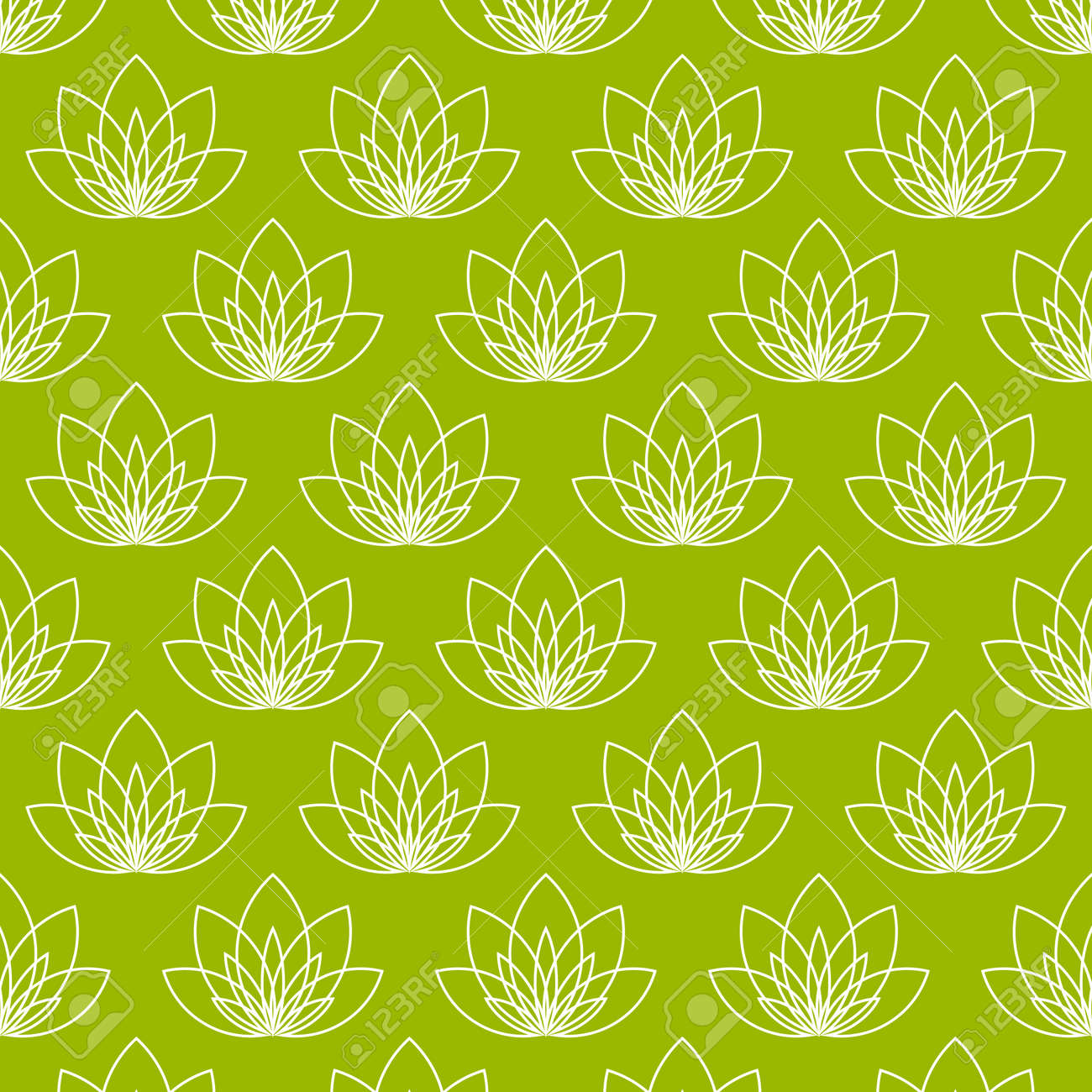 Yoga pattern background seamless pattern with five petals lotus flower - Seamless Pattern With Five Petals Lotus Flower As Symbol Of Yoga Vector Background For