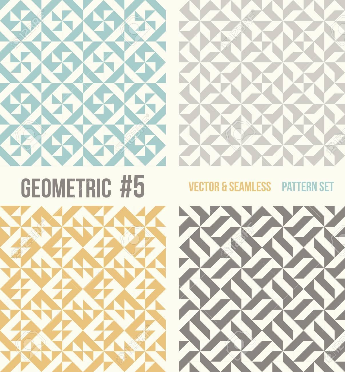 cc004fe32 Conjunto de cuatro patrones geométricos. Colección de diferentes modelos  abstractos, número 5. trullo, amarillo y gris, fondos de color gris ...