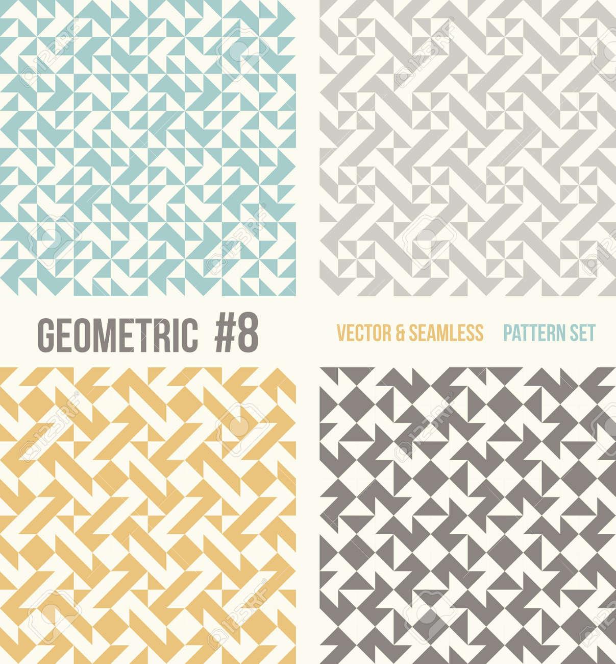 c92dc0a38 Conjunto de cuatro patrones geométricos. Colección de diferentes modelos  abstractos, número 8. trullo, amarillo y gris, fondos de color gris ...