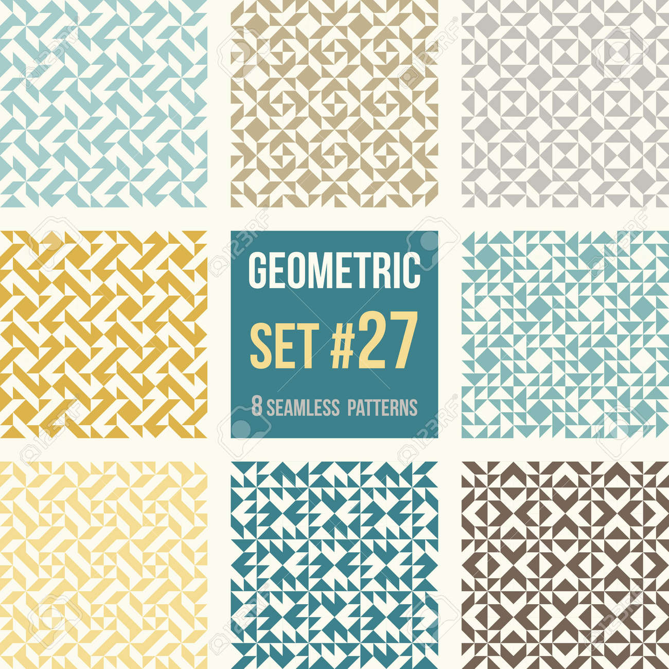 Set Of Eight Geometric Patterns. Collection Of Different Abstract ...
