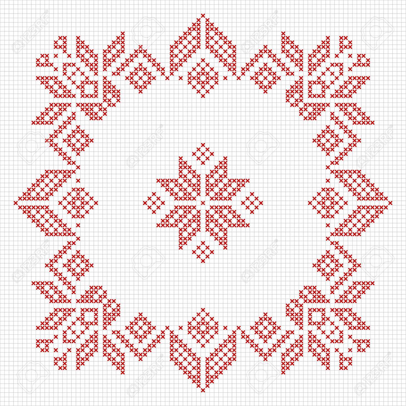 Scandinavian Style Cross Stitch Pattern. Traditional Biscornu ...
