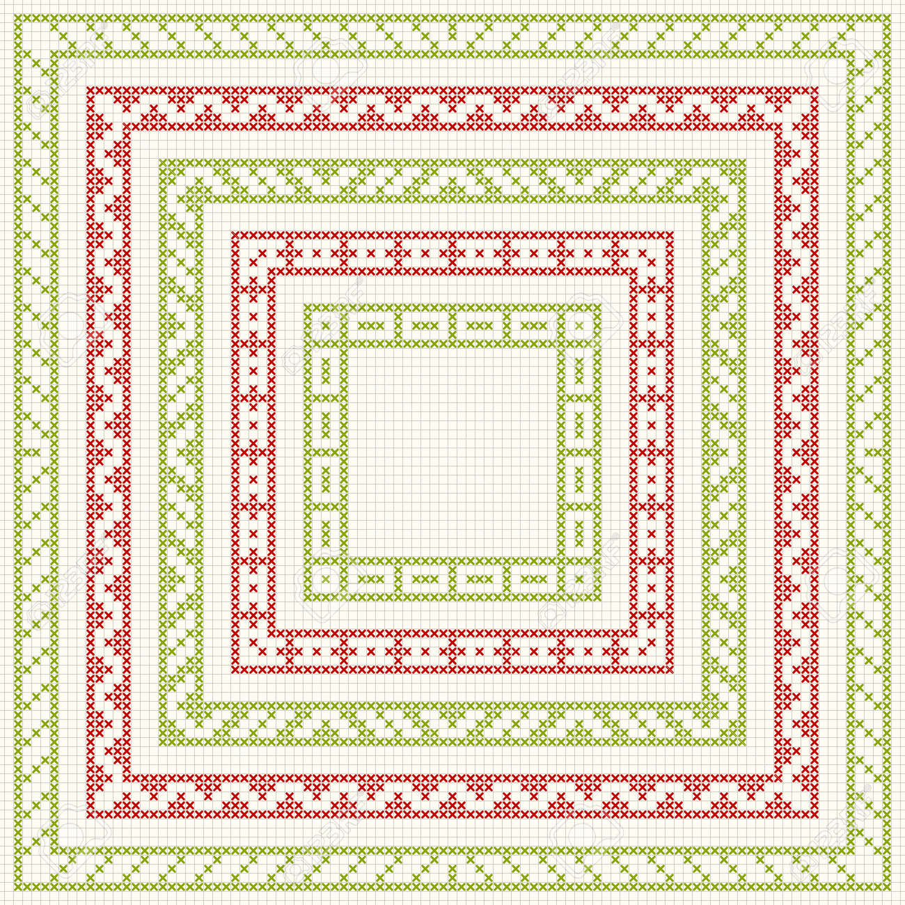 Set Of Cross Stitch Pattern For Thin Borders. Geometric Frames ...