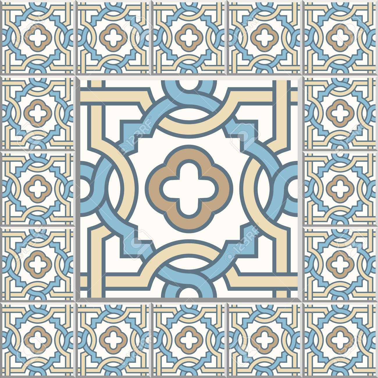 Floor Tiles - Seamless Vintage Pattern With Cement Tiles. Seamless ...