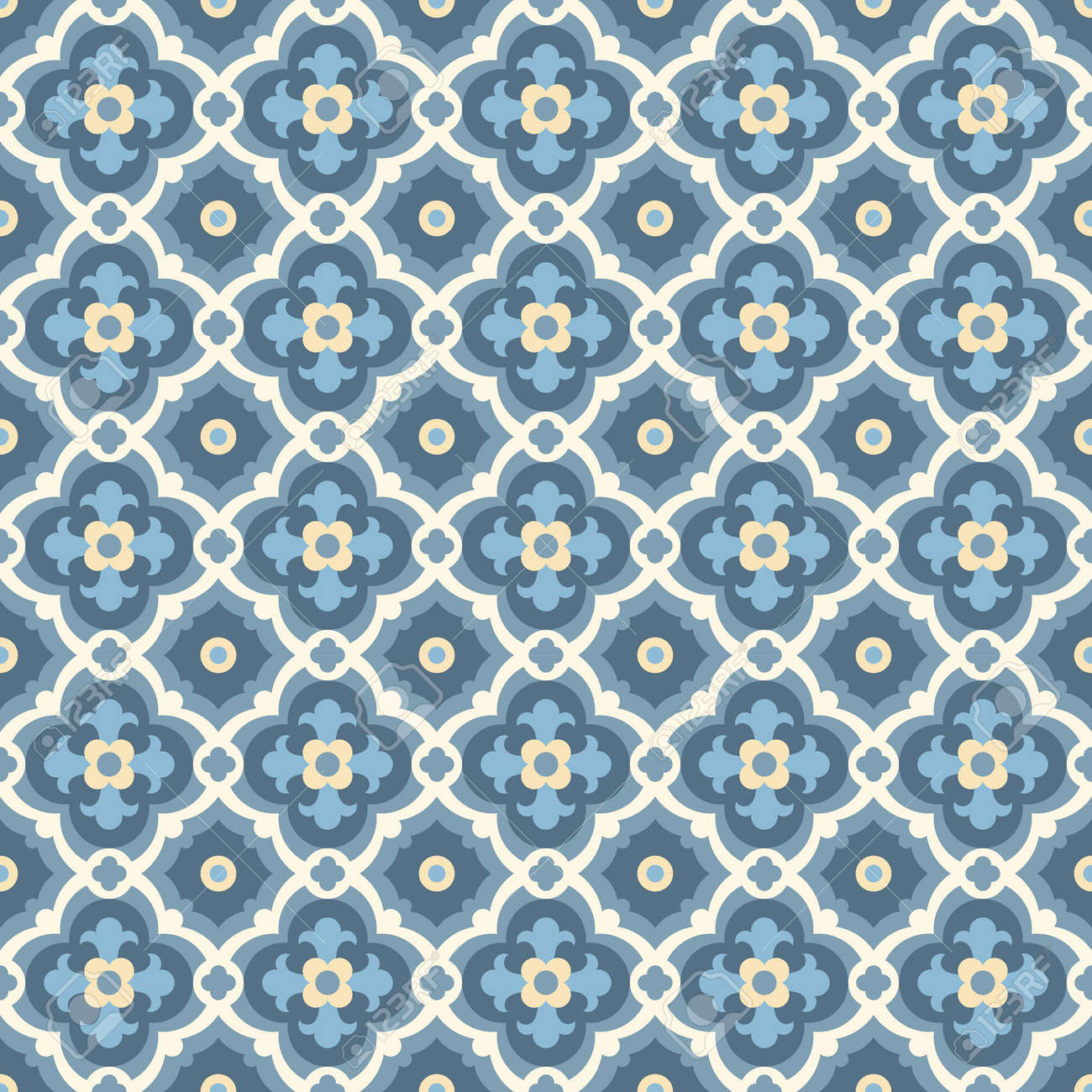 Floor Tiles - Seamless Vintage Pattern With Quatrefoils. Seamless ...