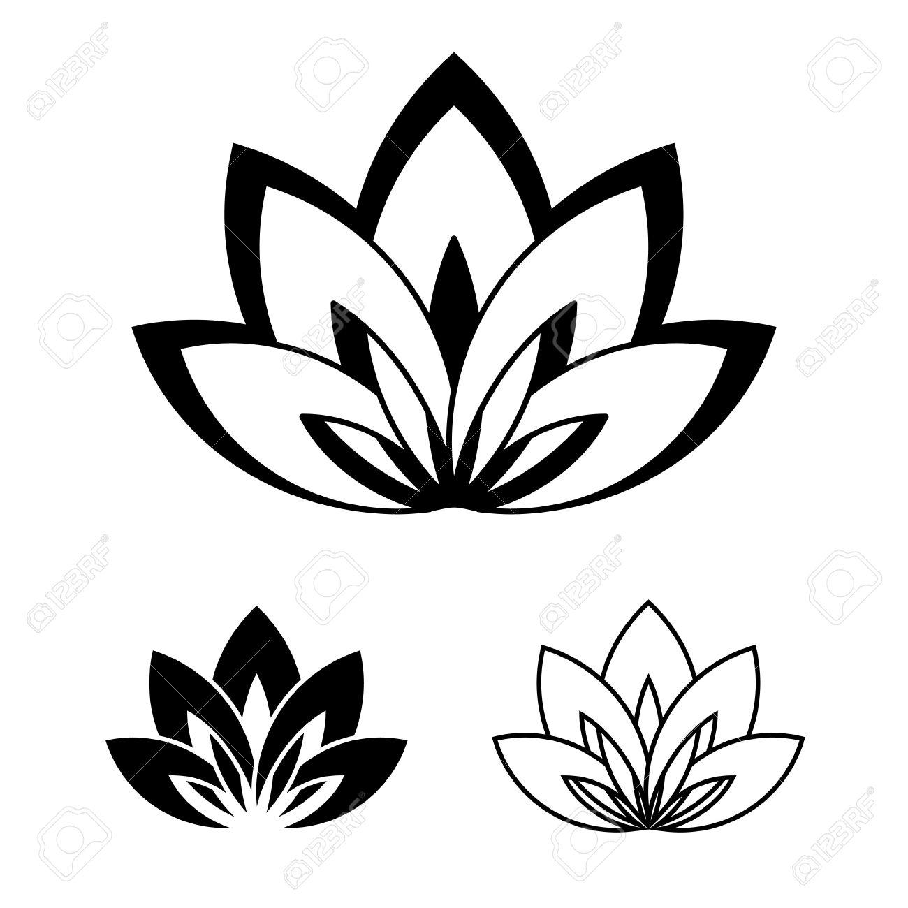 Cinco Pétalos De La Flor De Loto Como Símbolo De Yoga Ilustración