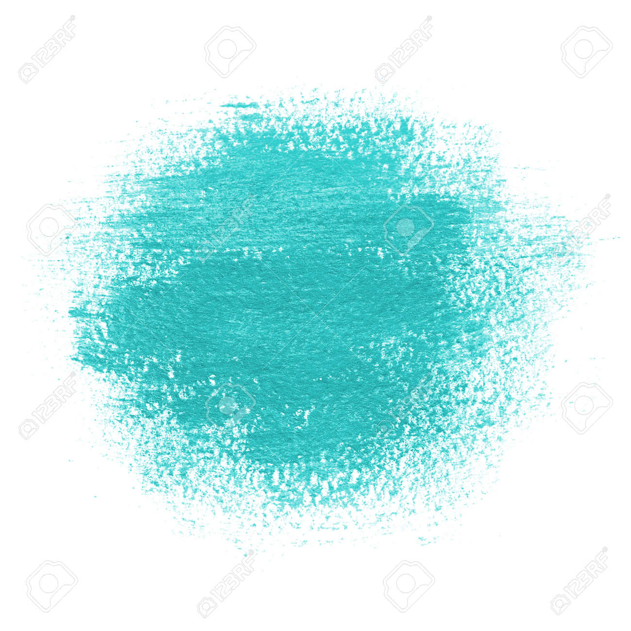 Round Paint Spot Drawn With Brush Stroke Bright Turquoise Blue
