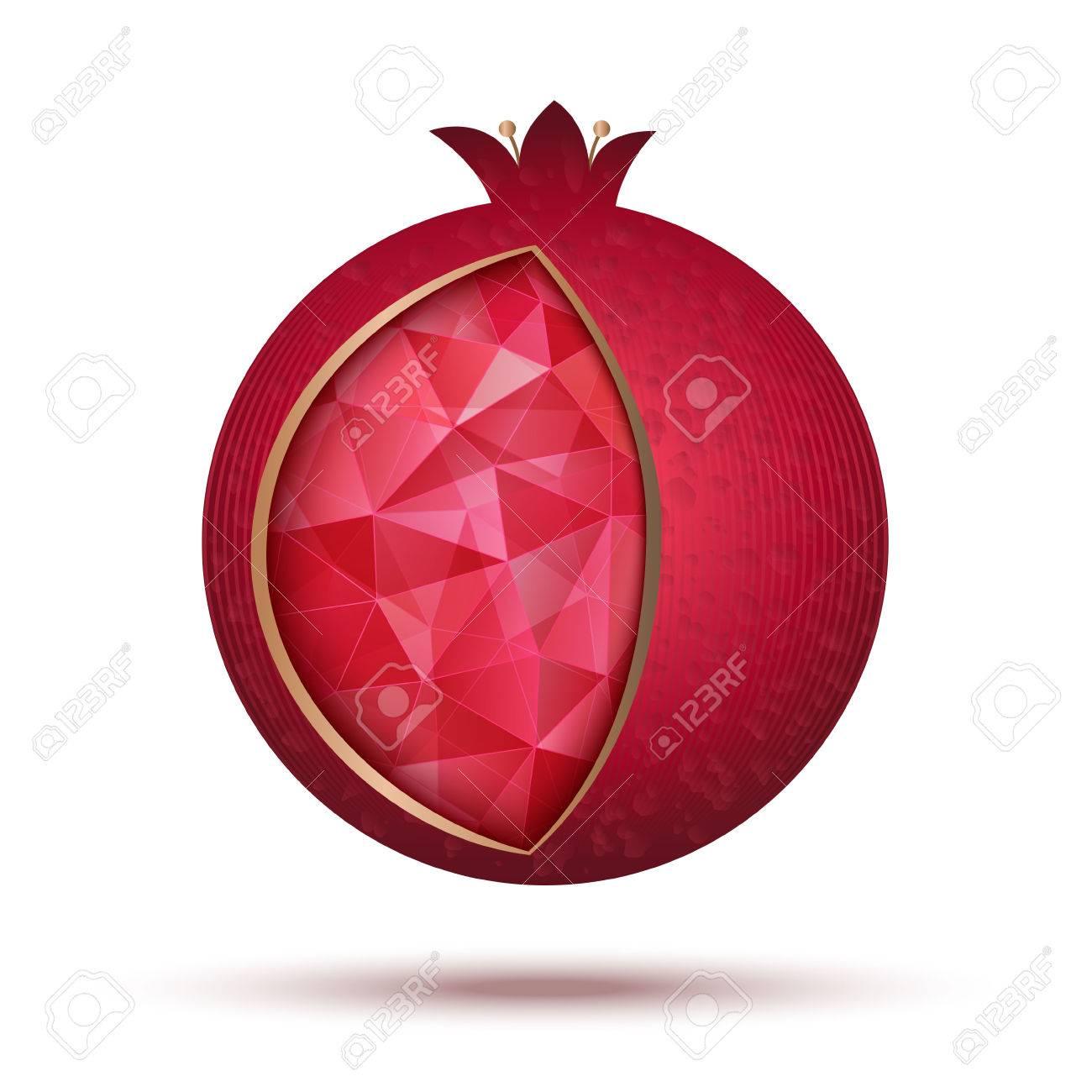 Ripe Red Pomegranate Vector Illustration Pomegranate Icon As A