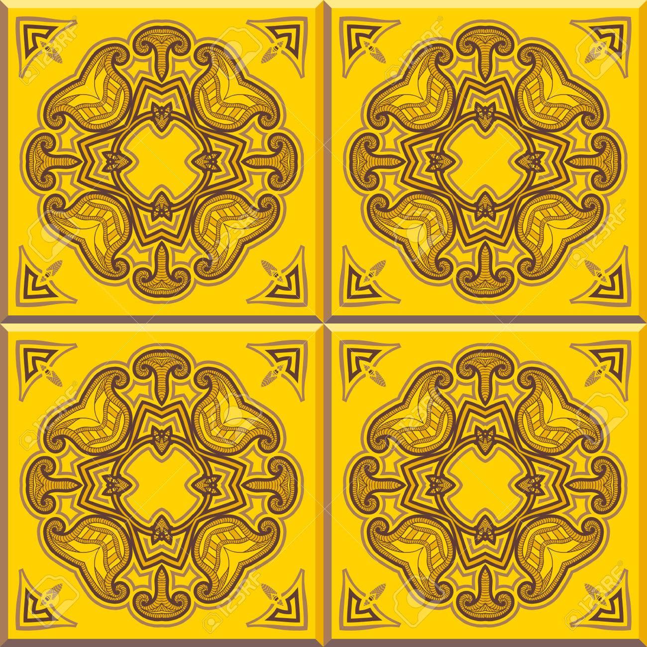 Set Von Vier Fliesen. Bodenfliesen   Nahtlose Vintage Muster Mit  Zementfliesen. Nahtlose Vektor Hintergrund. Vektor Illustration