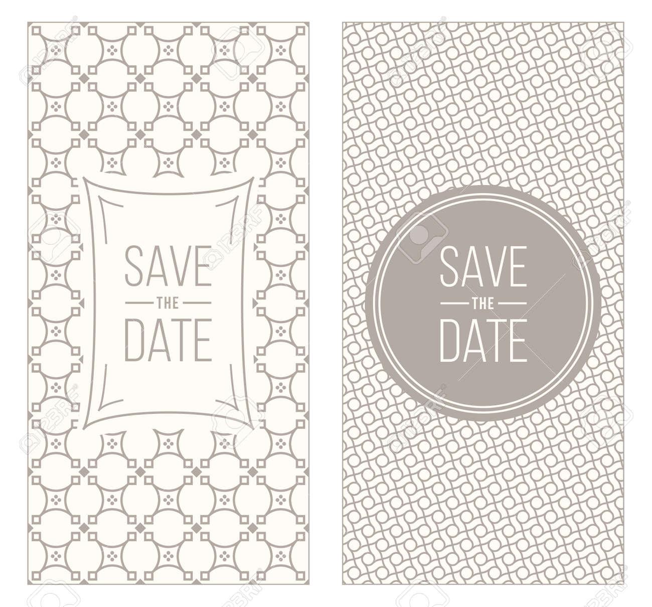 Two Retro Vintage Wedding Invitation Templates - Abstract Geometric ...