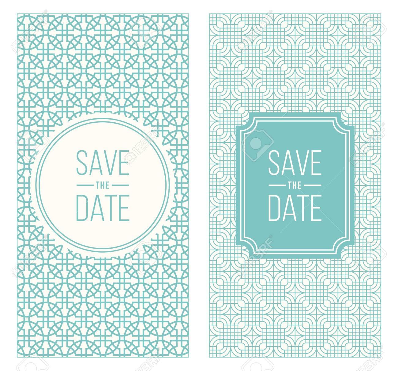 Two Retro Vintage Wedding Invitation Templates Abstract Geometric