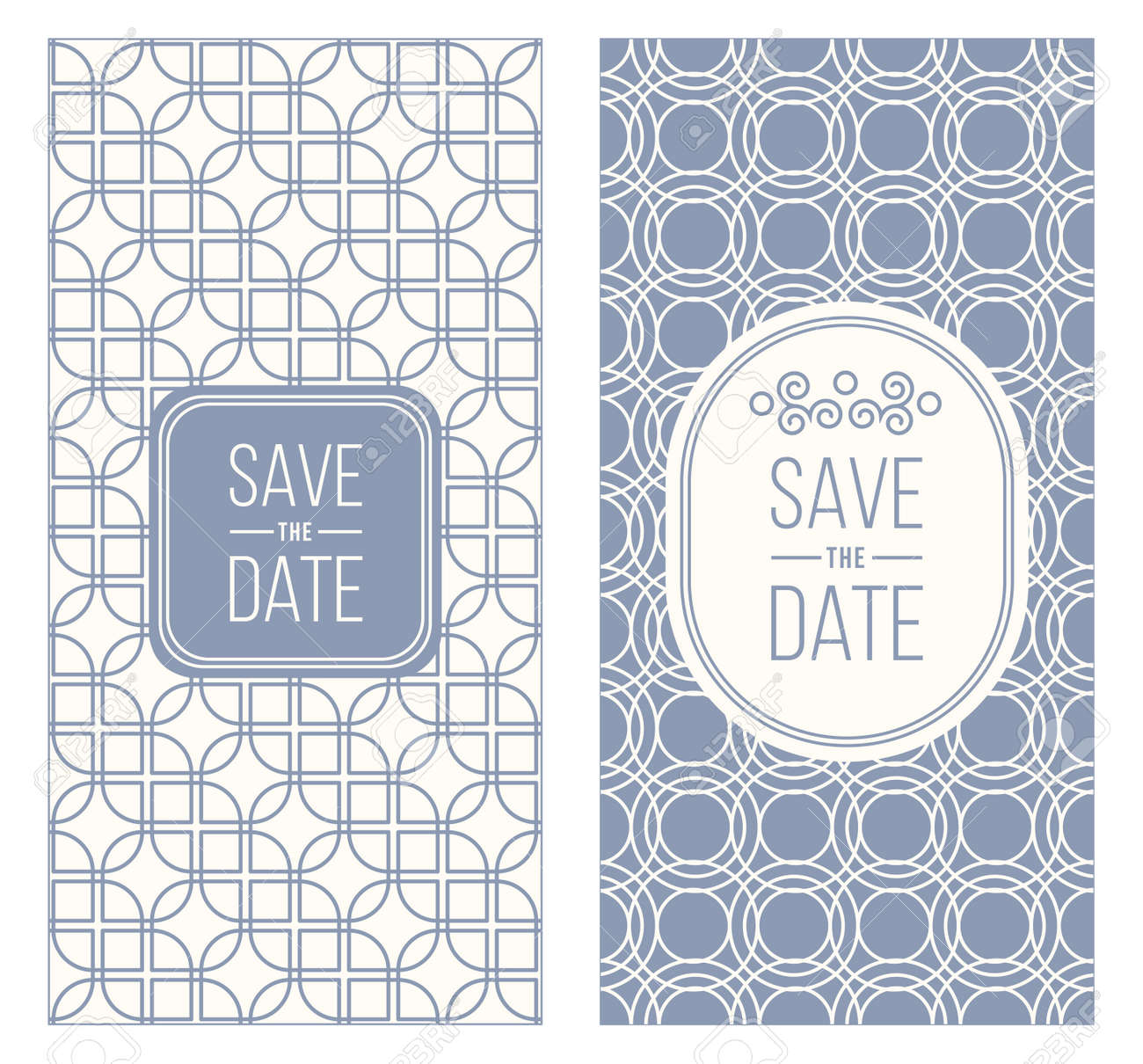Two Retro Wedding Invitation Templates Abstract Geometric