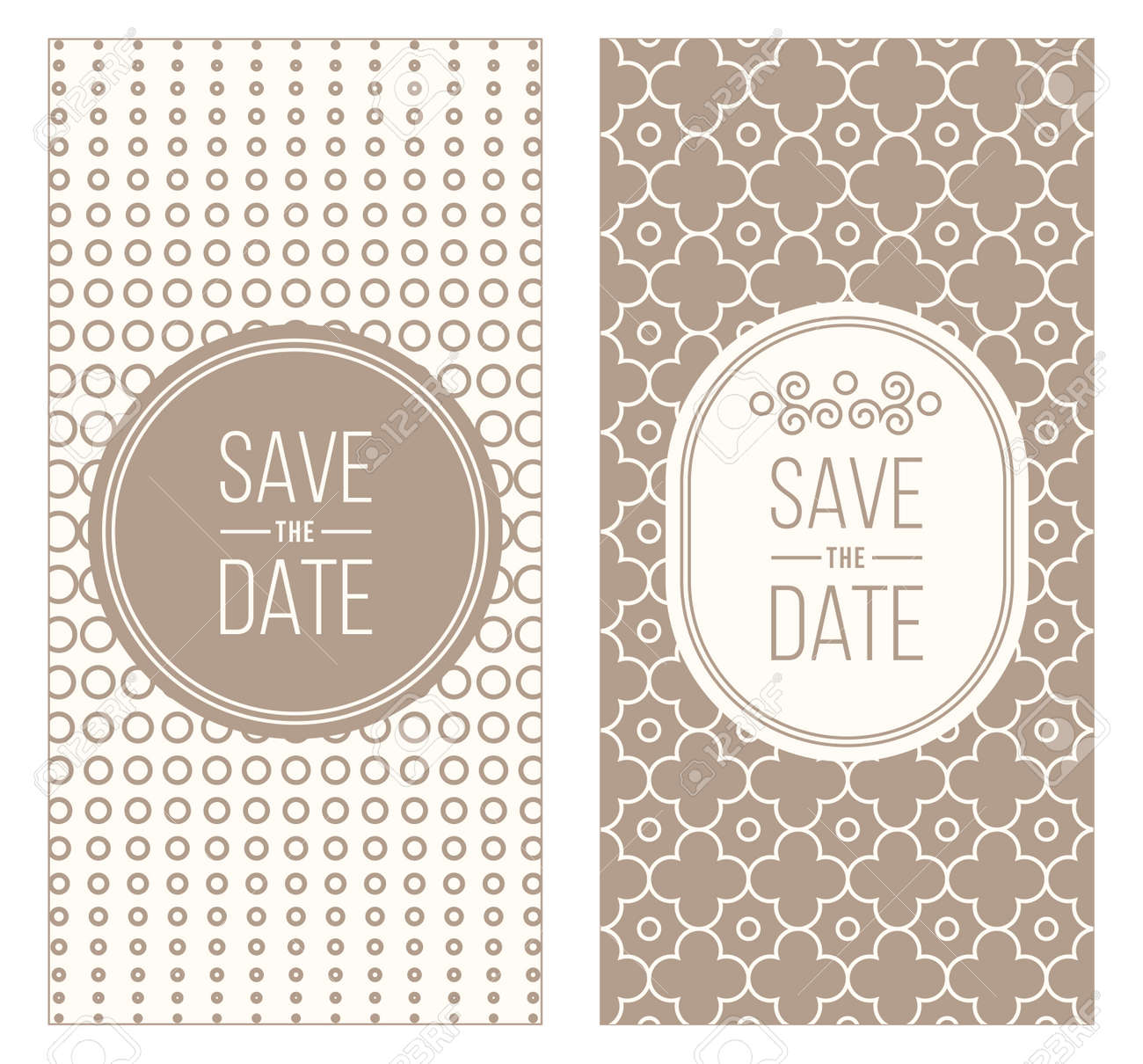 Two Retro Wedding Invitation Templates Abstract Geometric