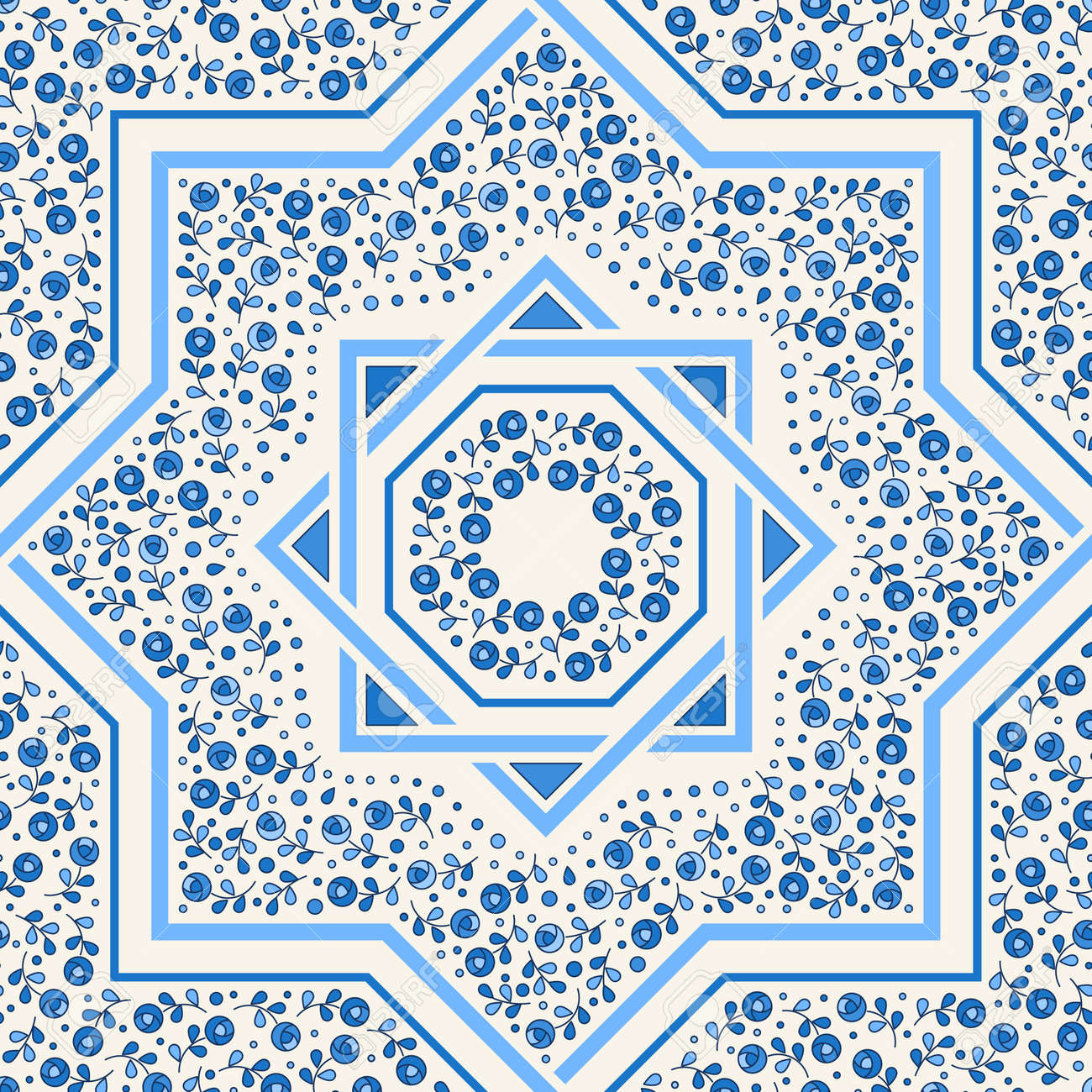Patterned Floor Tile. Moroccan Pattern Design. Eight-ray Star ...