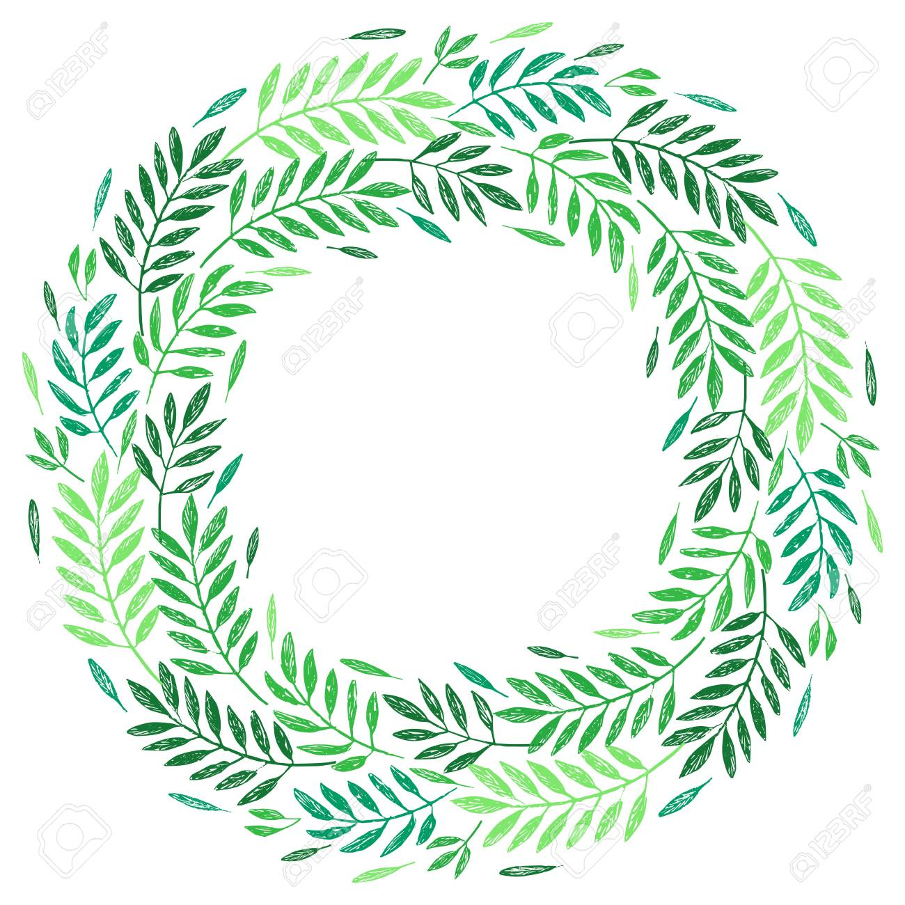 tropical palm leaves foliage wreath round frame vector