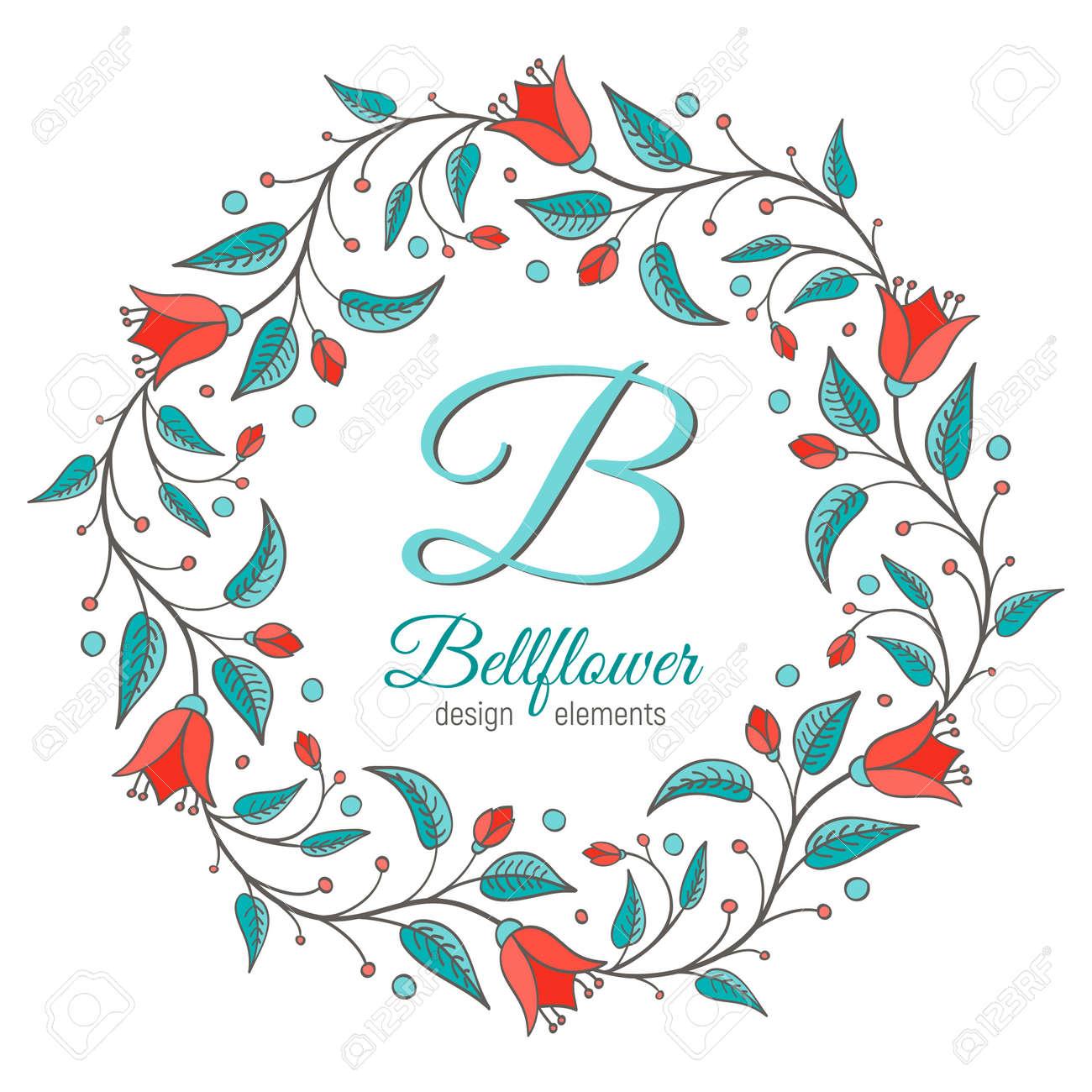 Lement De Conception Bellflower Cadre Floral En Forme De Couronne