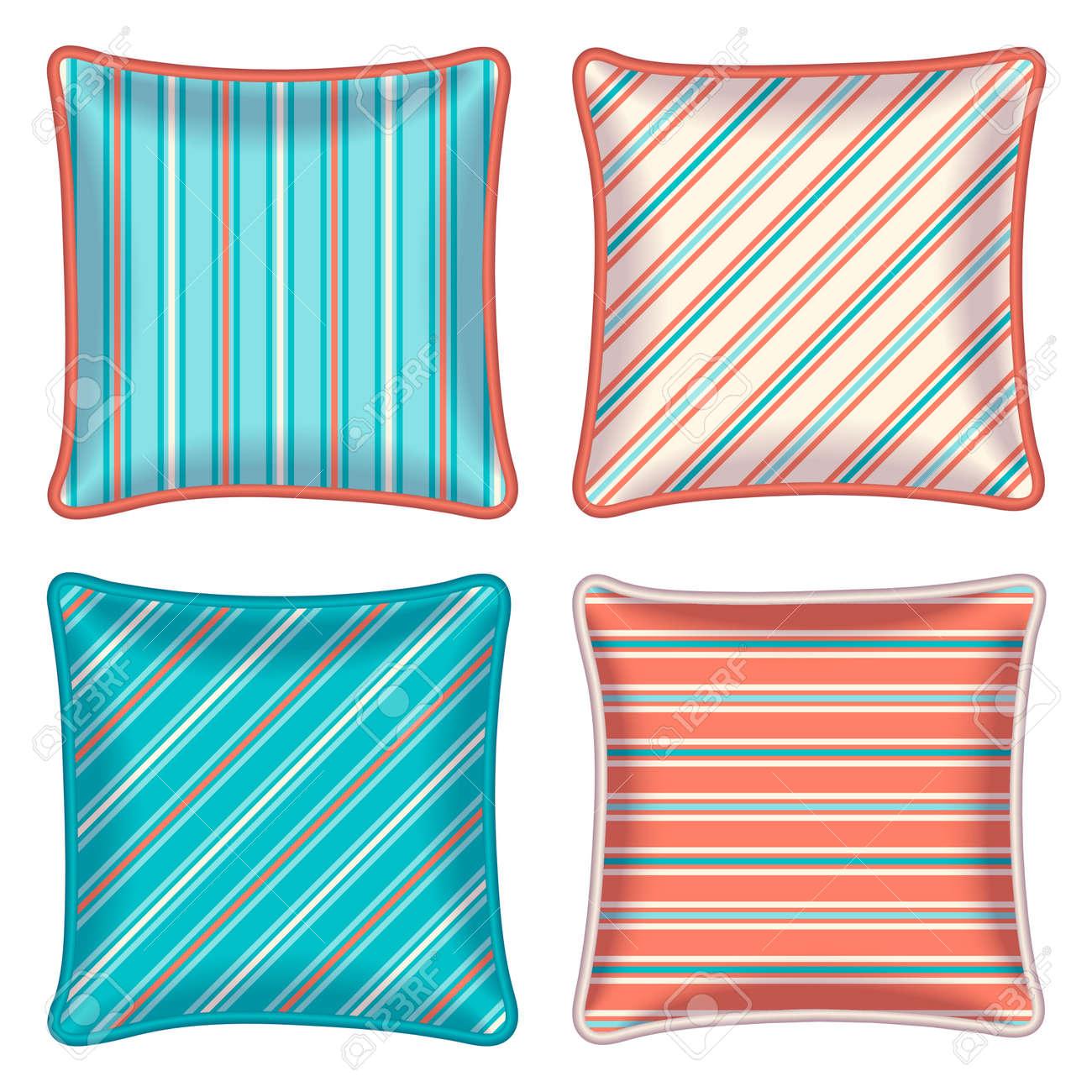 Bon Four Striped Throw Pillows. Decorative Throw Pillows, Patterned Pillowcase    Orange And Turquoise Stripe