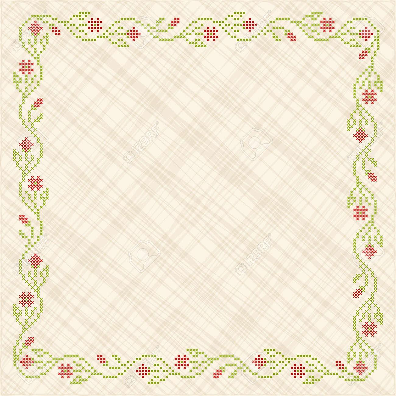 Illustration Of Cross Stitch Embroidery Floral Frame Design Elements