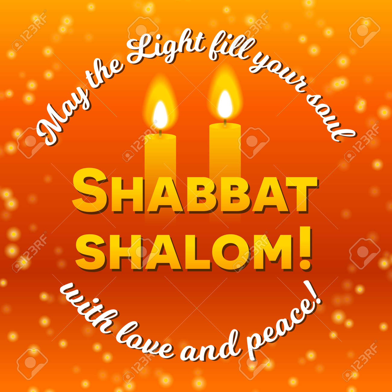 Shabbat shalom lettering greeting card vector illustration shabbat shalom lettering greeting card vector illustration two burning shabbat candles and bokeh m4hsunfo