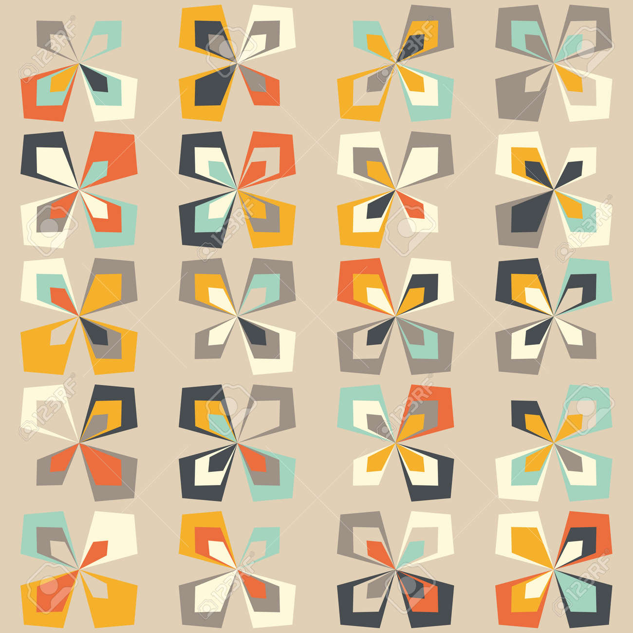 Midcentury Geometric Retro Background Vintage Brown Orange