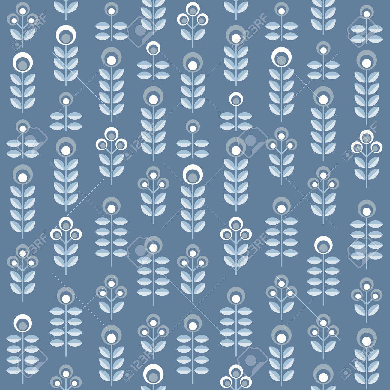 Scandinavian Floral Background Mid Century Wallpaper Seamless Pattern Vector Illustration Retro Interior