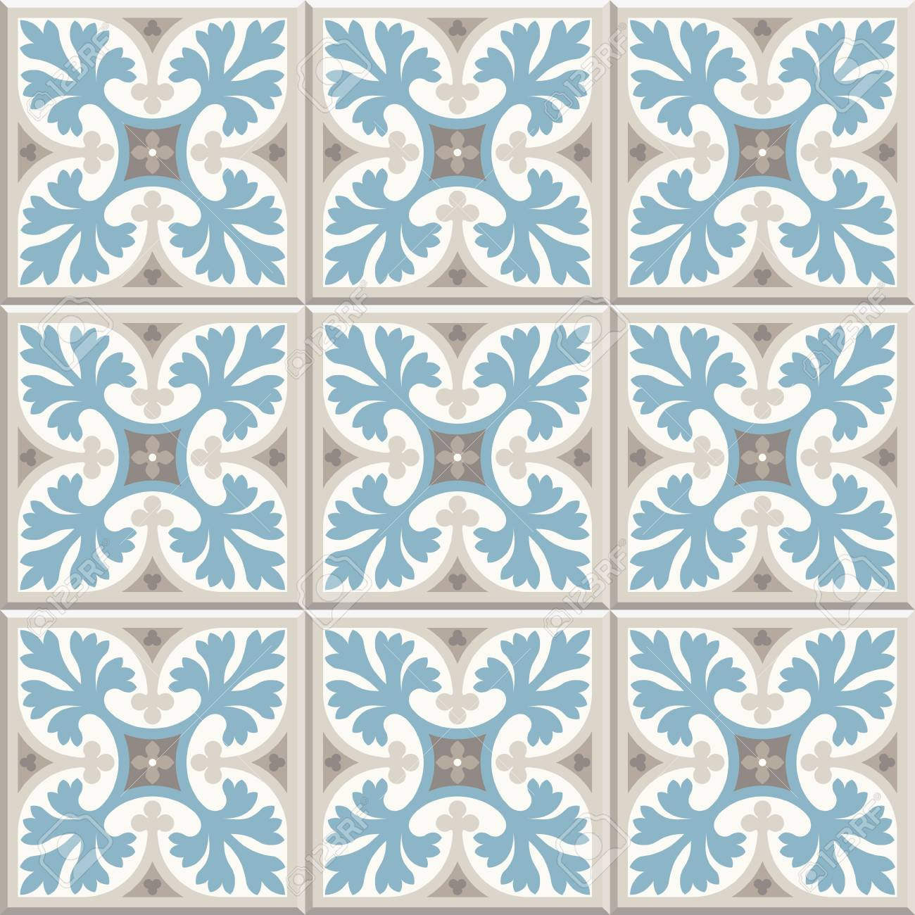 Ancient Floor Ceramic Tiles. Flooring Tiling Seamless Vector ...