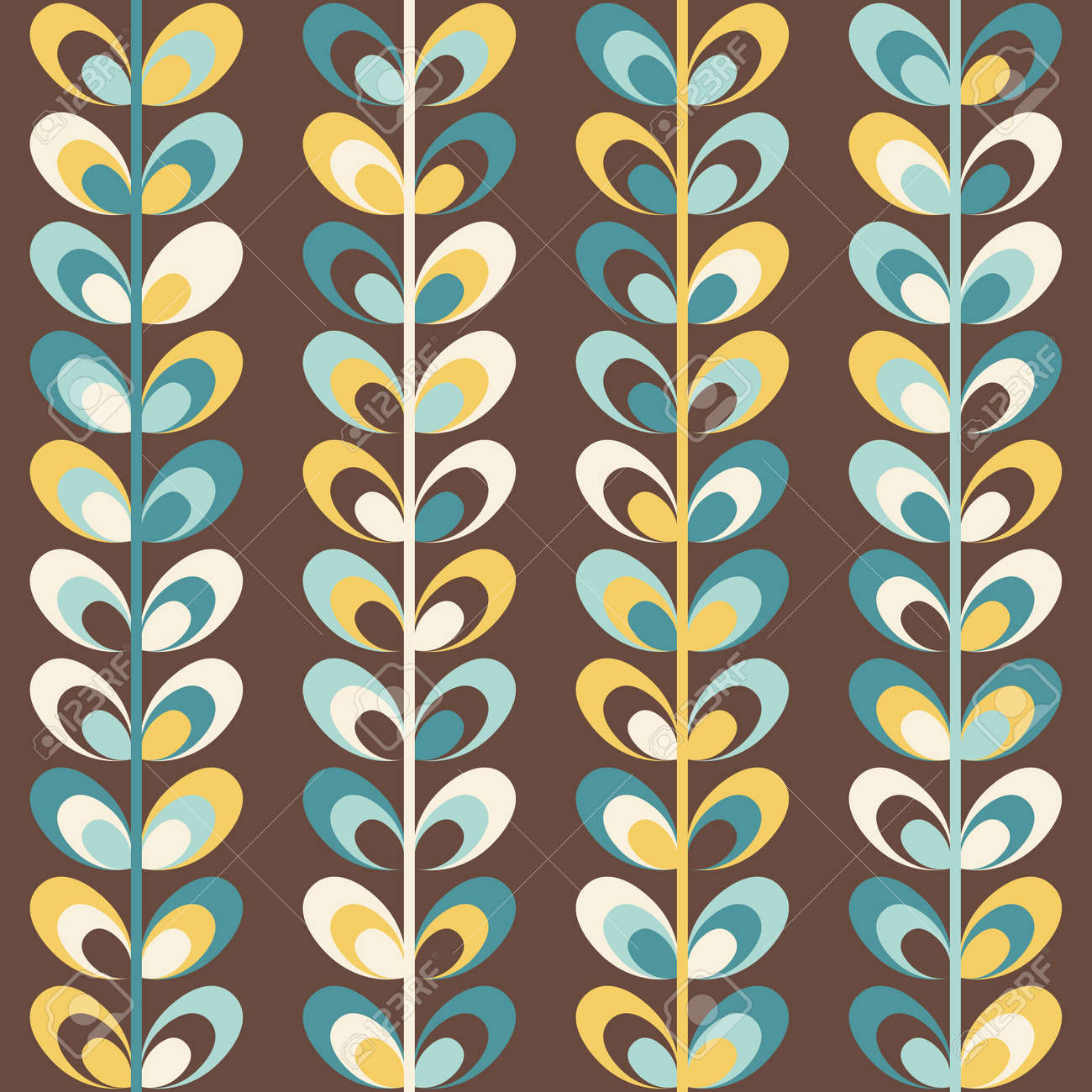 Midcentury Geometric Retro Background Vintage Brown Mustard