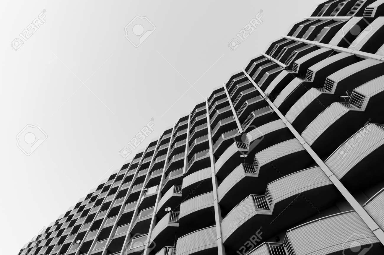 705cca55fdd2 Minimal Architecture black white apartment high rise office building retro  design pattern Stock Photo - 95821592