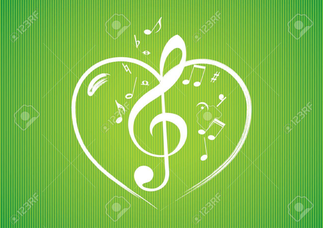 Heart rom musical notes illustration background Stock Vector - 13437485