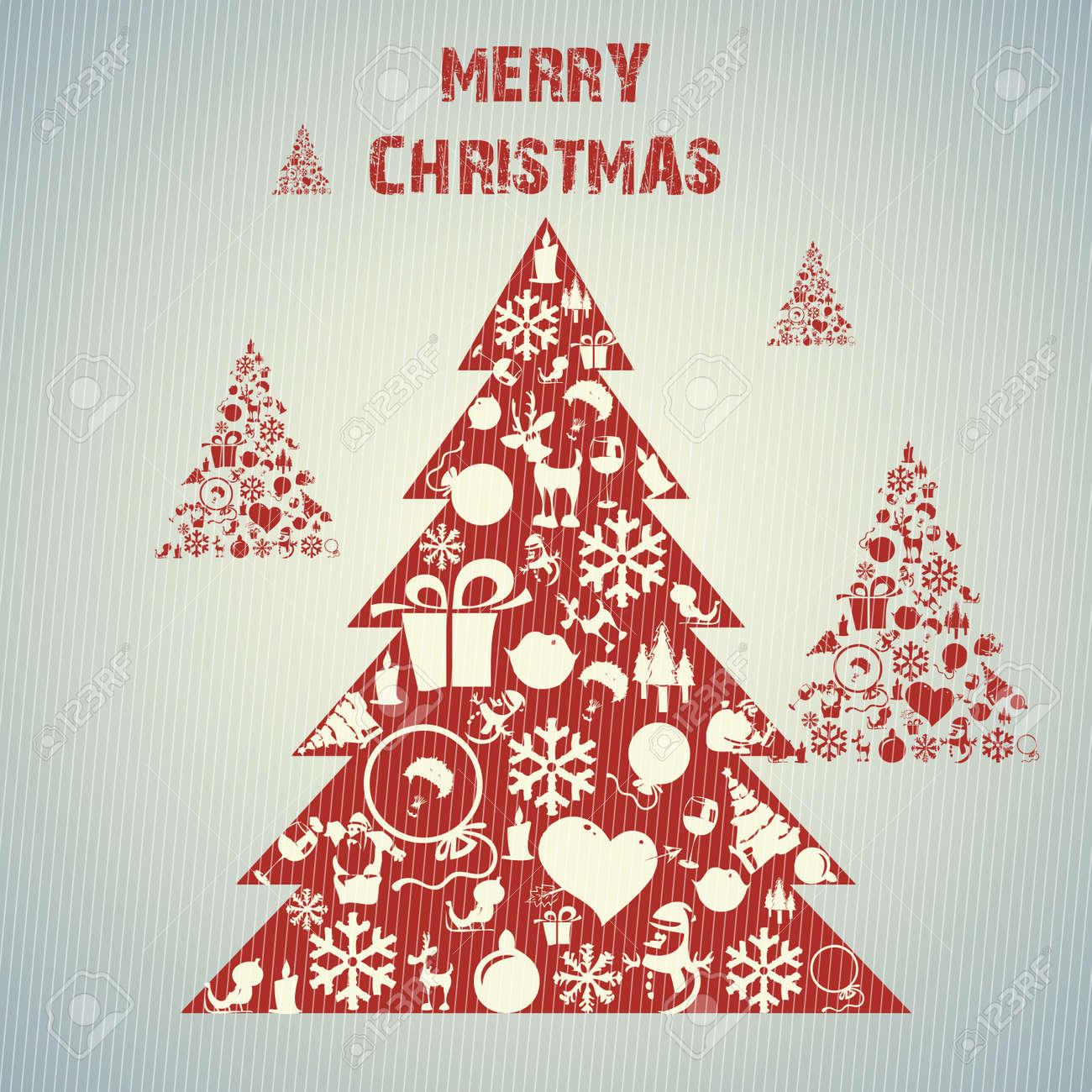 Christmas tree applique vector  background. Postcard Stock Vector - 15500975