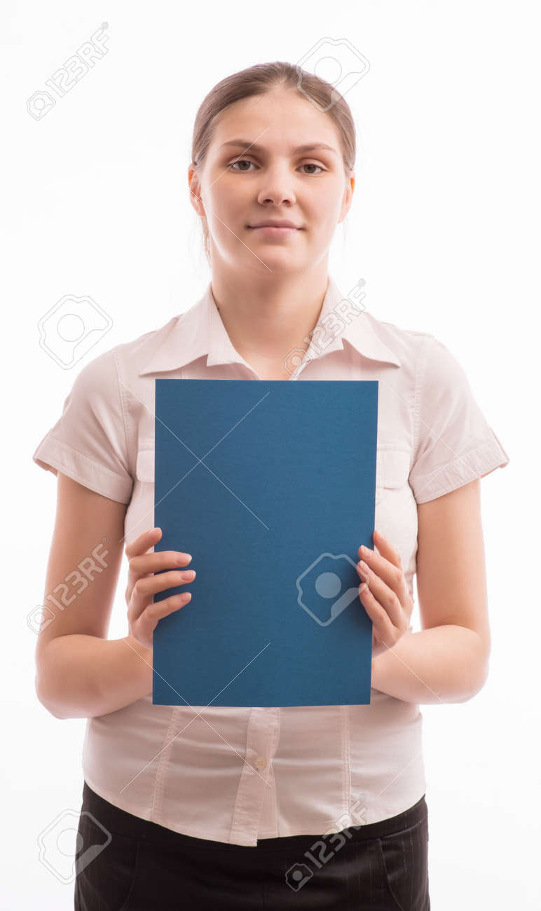 A woman holding a sheet of blue paper Stock Photo - 18524827