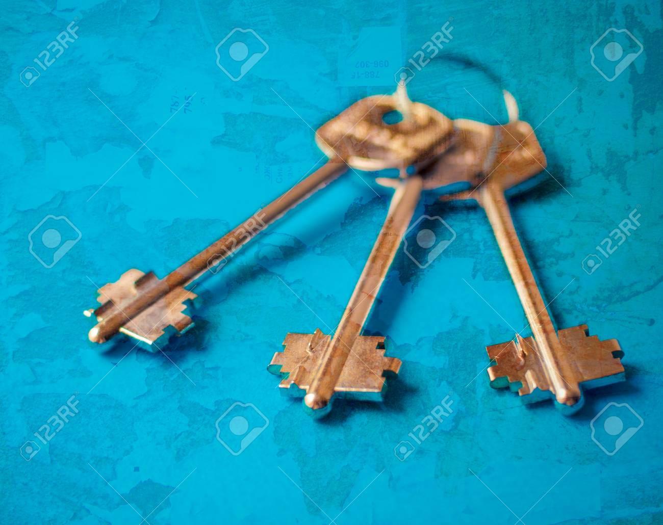 Keys on a blue background Stock Photo - 19767428