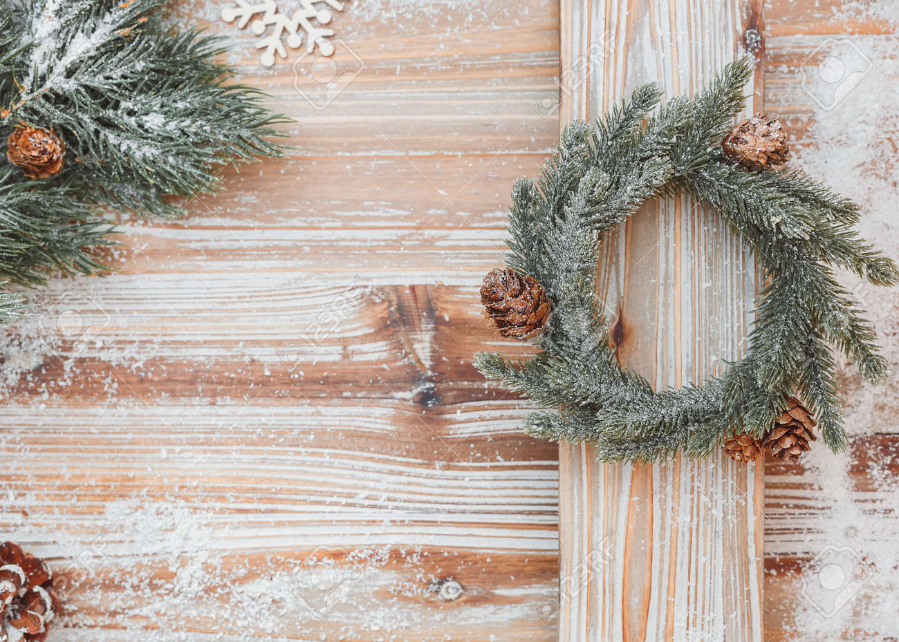 Christmas Card With Fir Tree Branches And Wreath On Rustic Wood ...