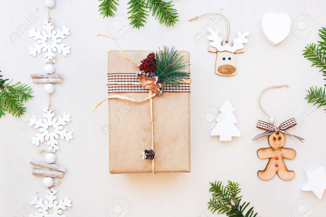 Christmas Gifts And Ornaments On White Table. Flat Lay, Top.. Stock ...