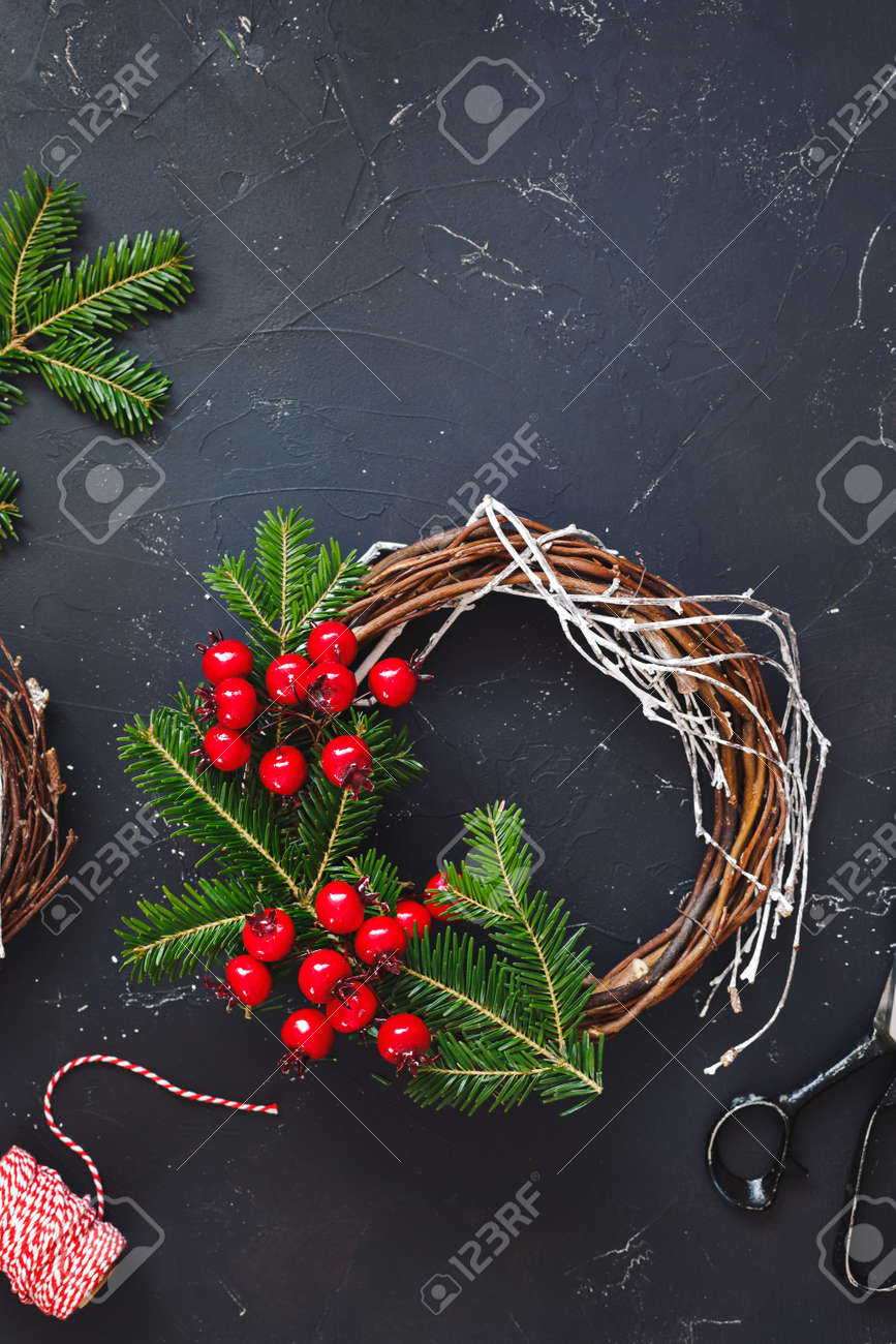 Rustic Christmas Grapevine Wreath Supplies Handmade Christmas Stock Photo Picture And Royalty Free Image Image 111665160