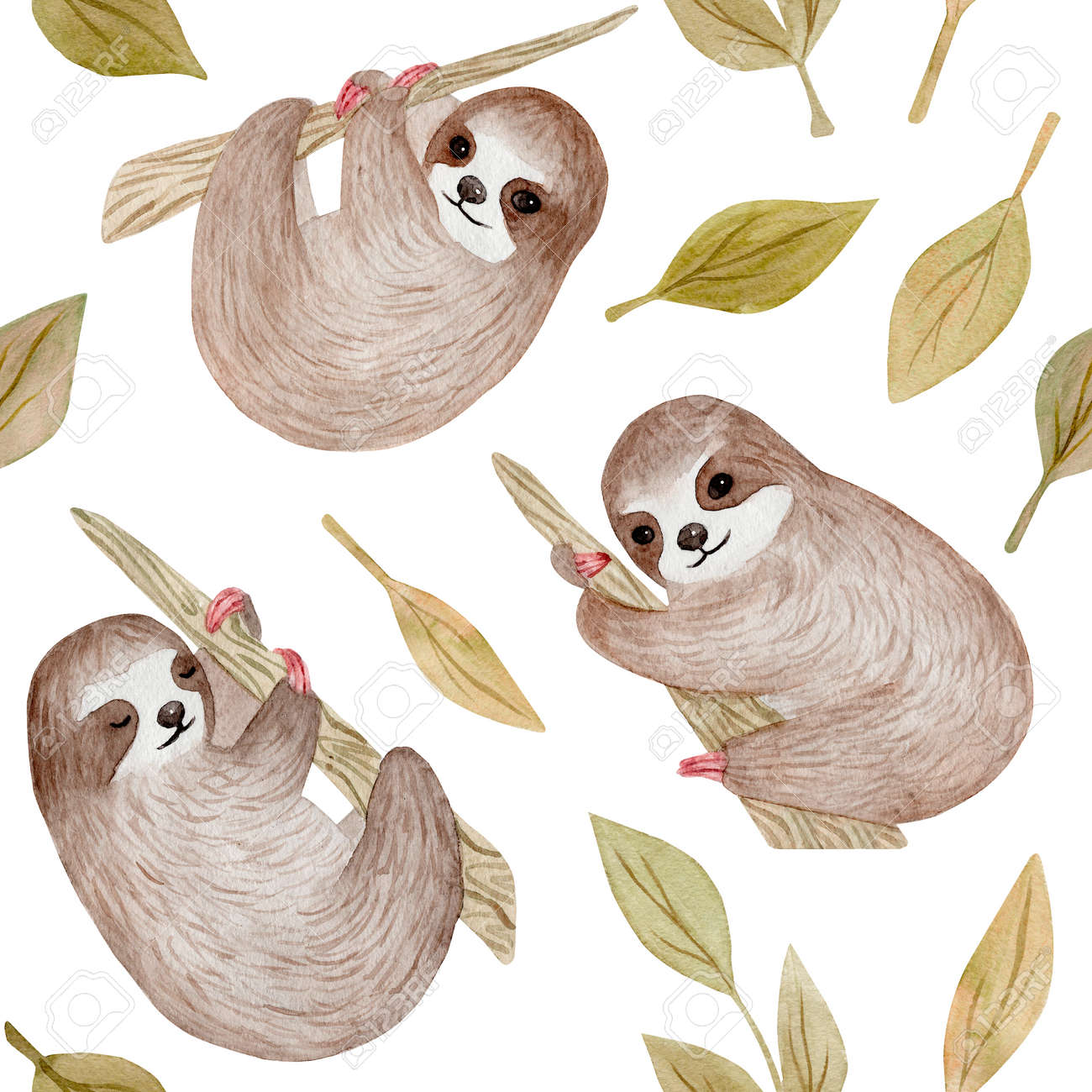 Watercolor Cute Sloth On The Palm Tree Tropical Animal Clipart Stock Photo Picture And Royalty Free Image Image 121190858