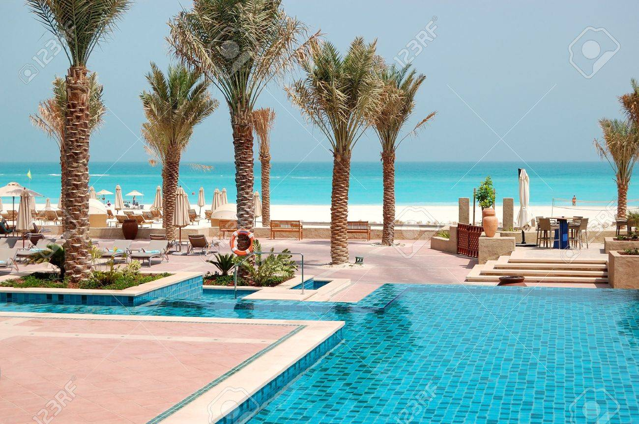 Swimming pools at the luxury hotel saadiyat island abu dhabi uae stock photo