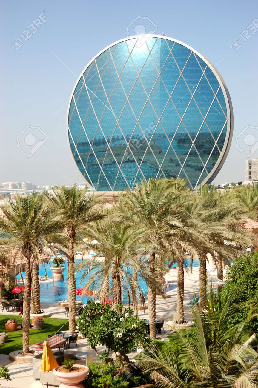 Stock photo the luxury hotel and circular building abu dhabi uae